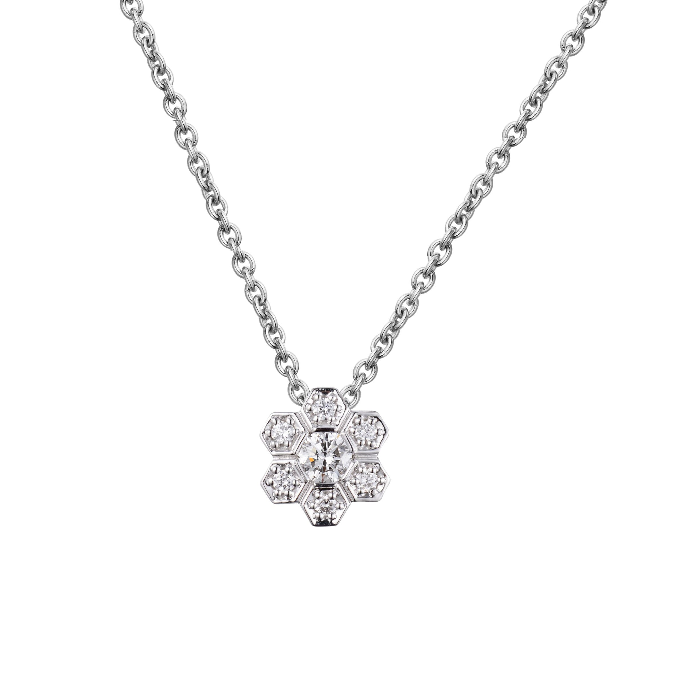 Petite Diamond Flower Pendant, 14K White Gold