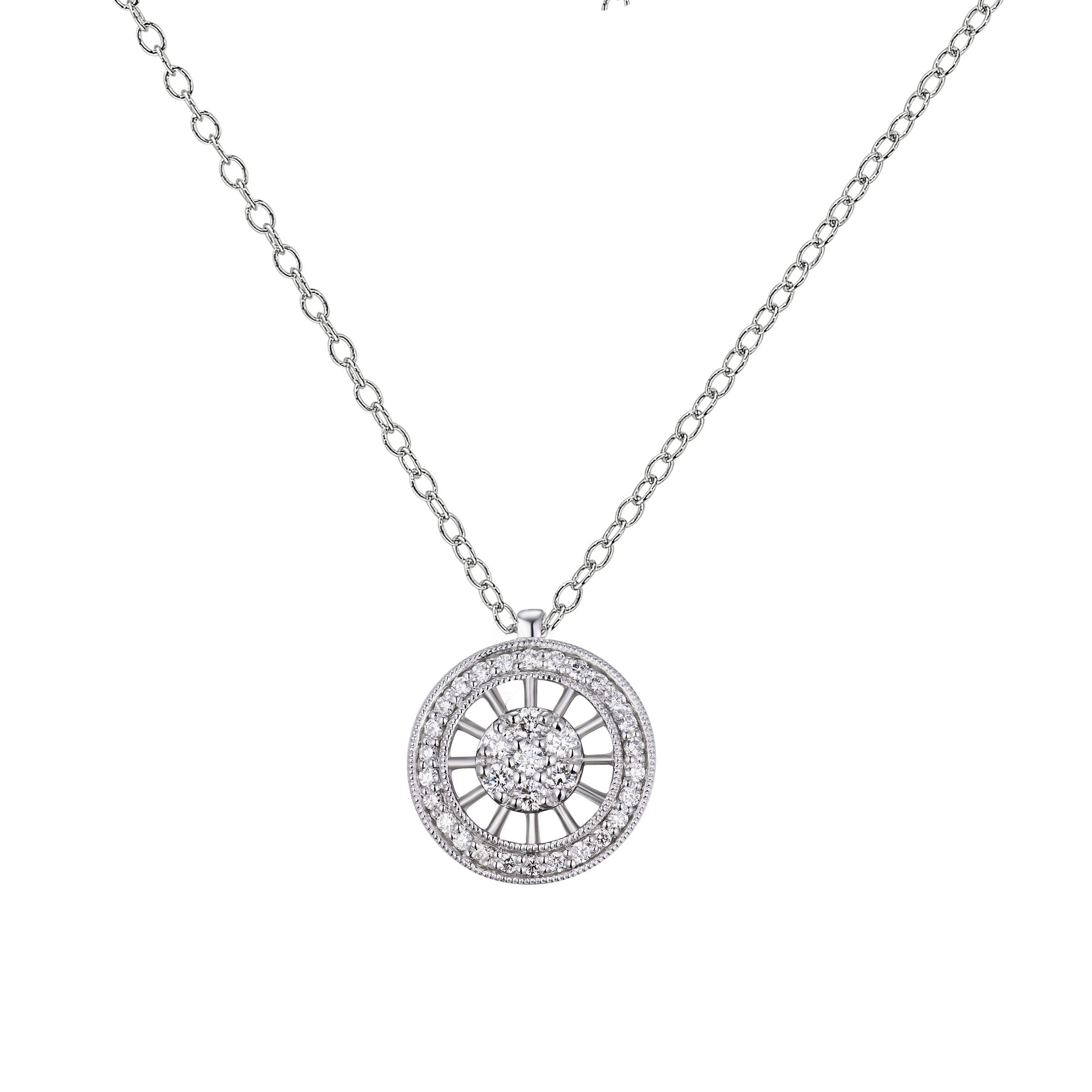 Diamond Circular Pendant, 14K White Gold
