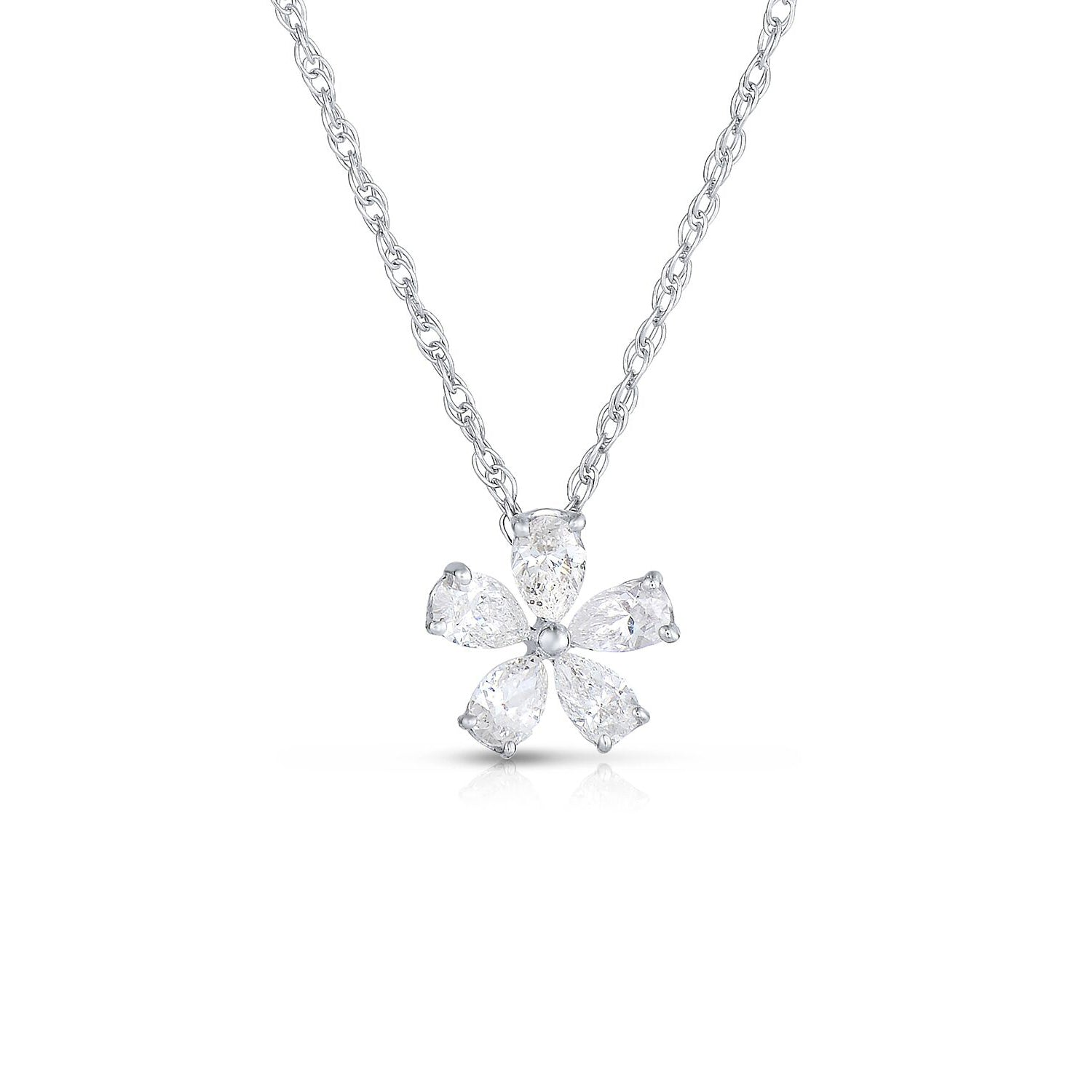 Diamond Flower Pendant, .50 Carat, 14K White Gold