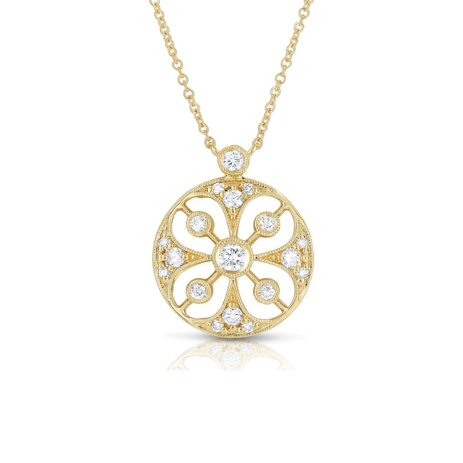 Neo Gothic Design Diamond Necklace, 14K Yellow Gold
