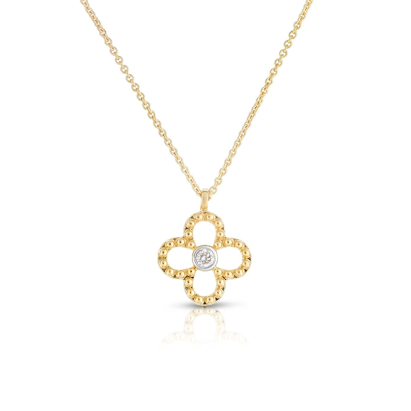 Open Clover Diamond Pendant, 14K Yellow Gold