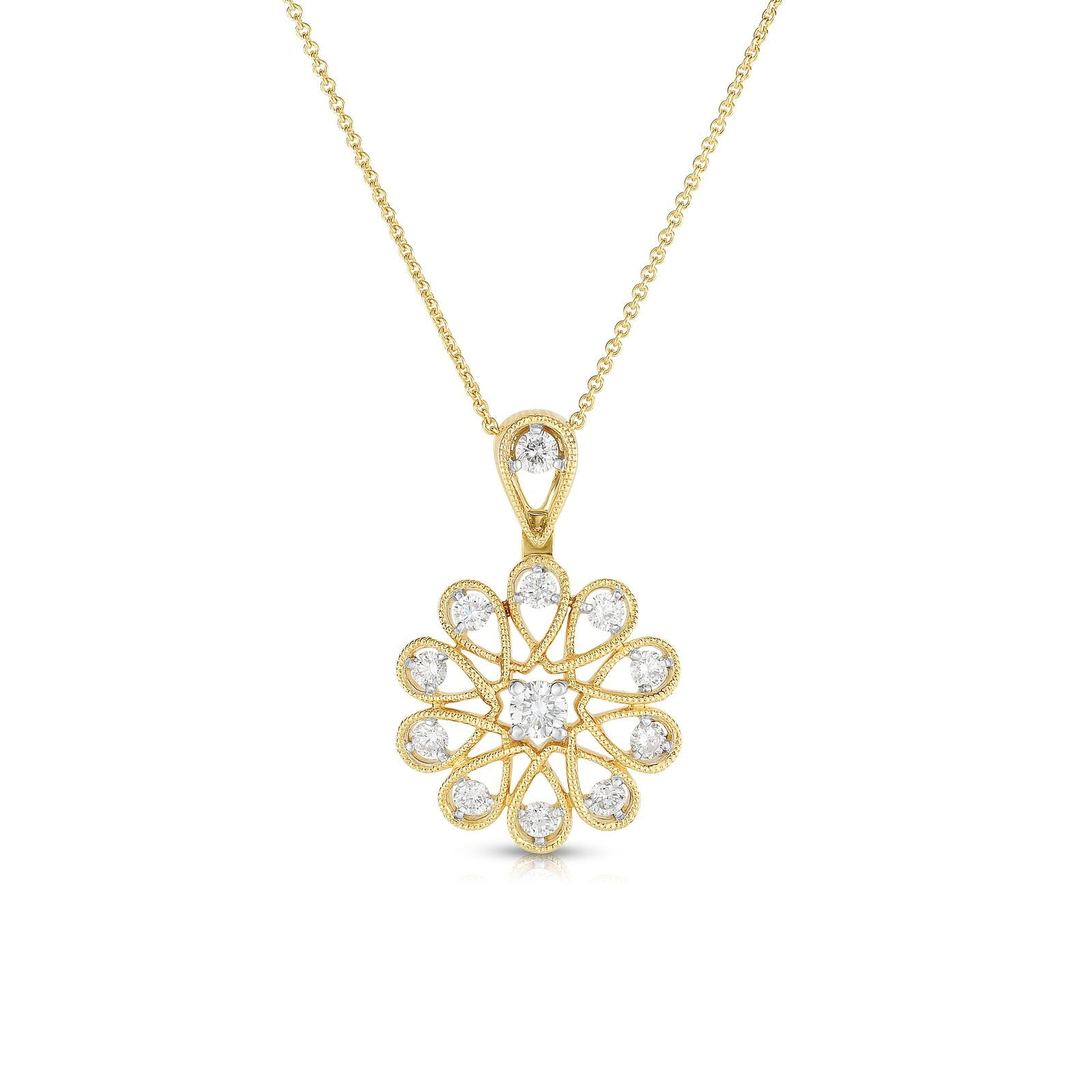 Sunburst Design Diamond Pendant, 14K Yellow Gold