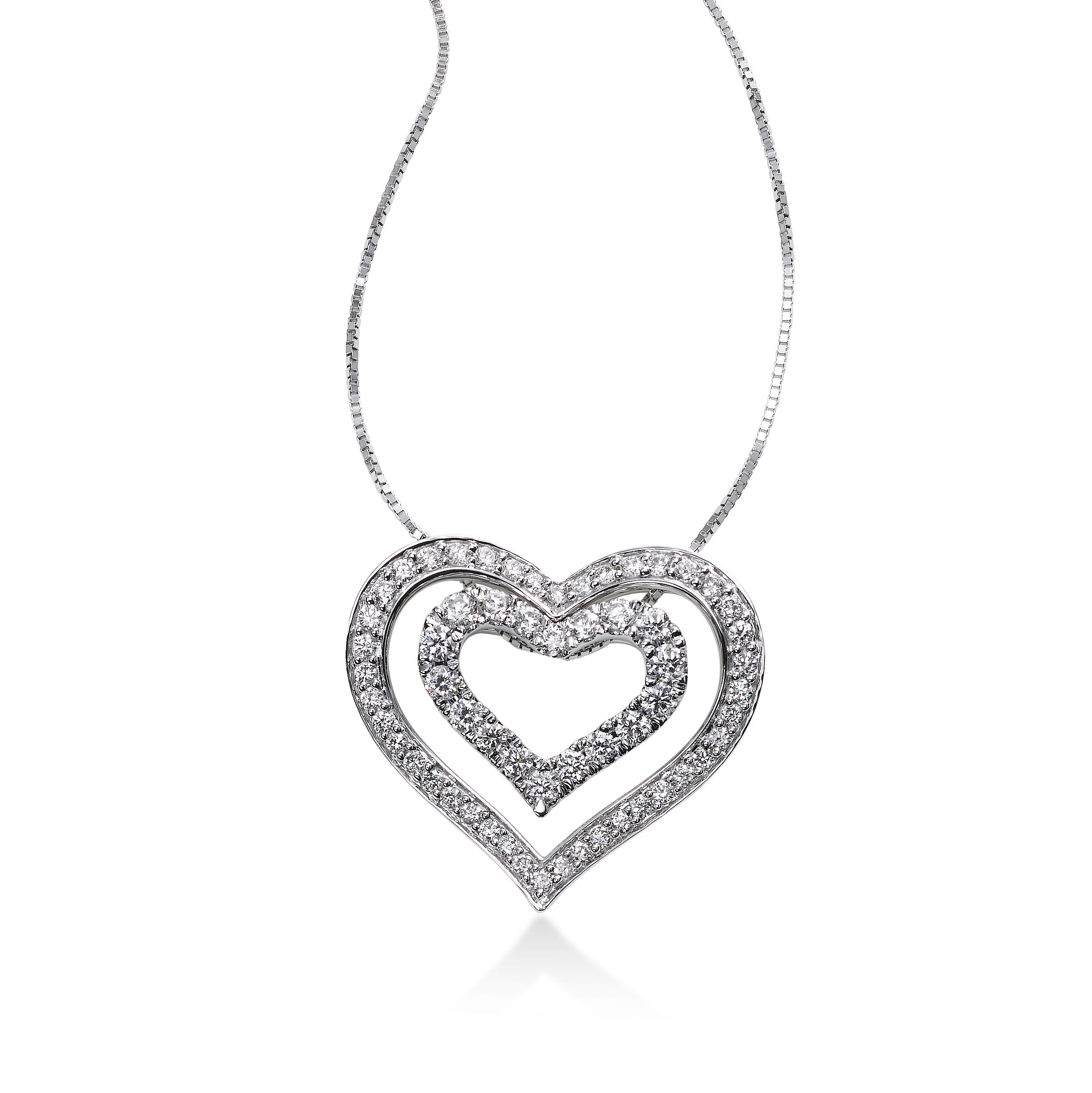 Diamond Nested Heart Pendant, 14K White Gold