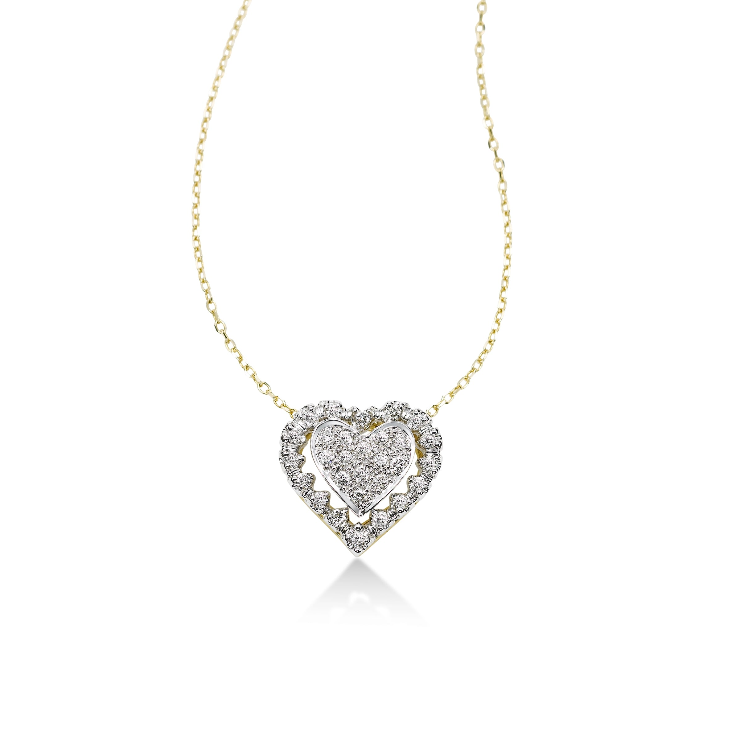 Pavé Diamond Heart Pendant, 14 Karat Gold