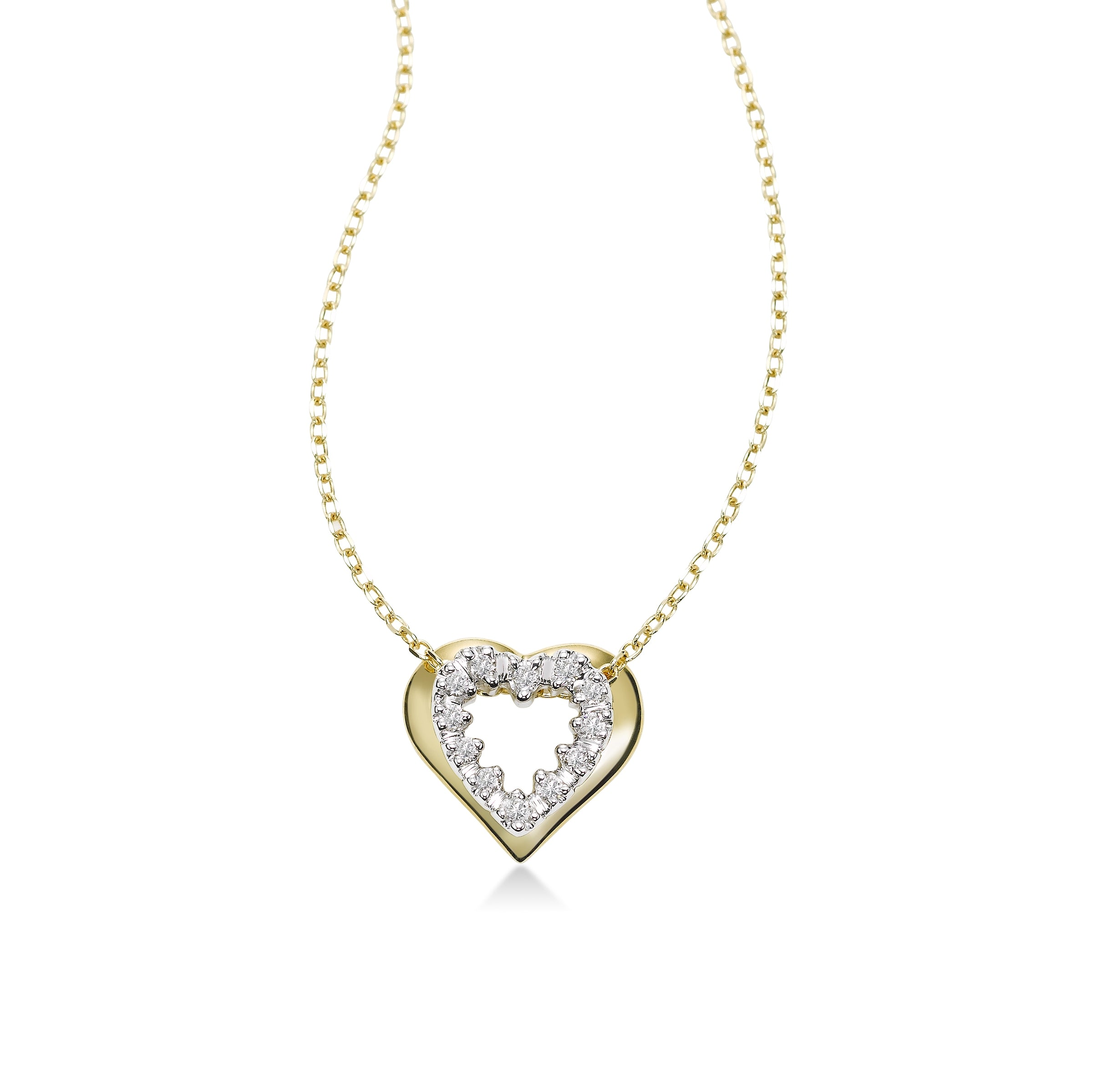 Open Design Diamond Heart Pendant, 14 Karat Gold