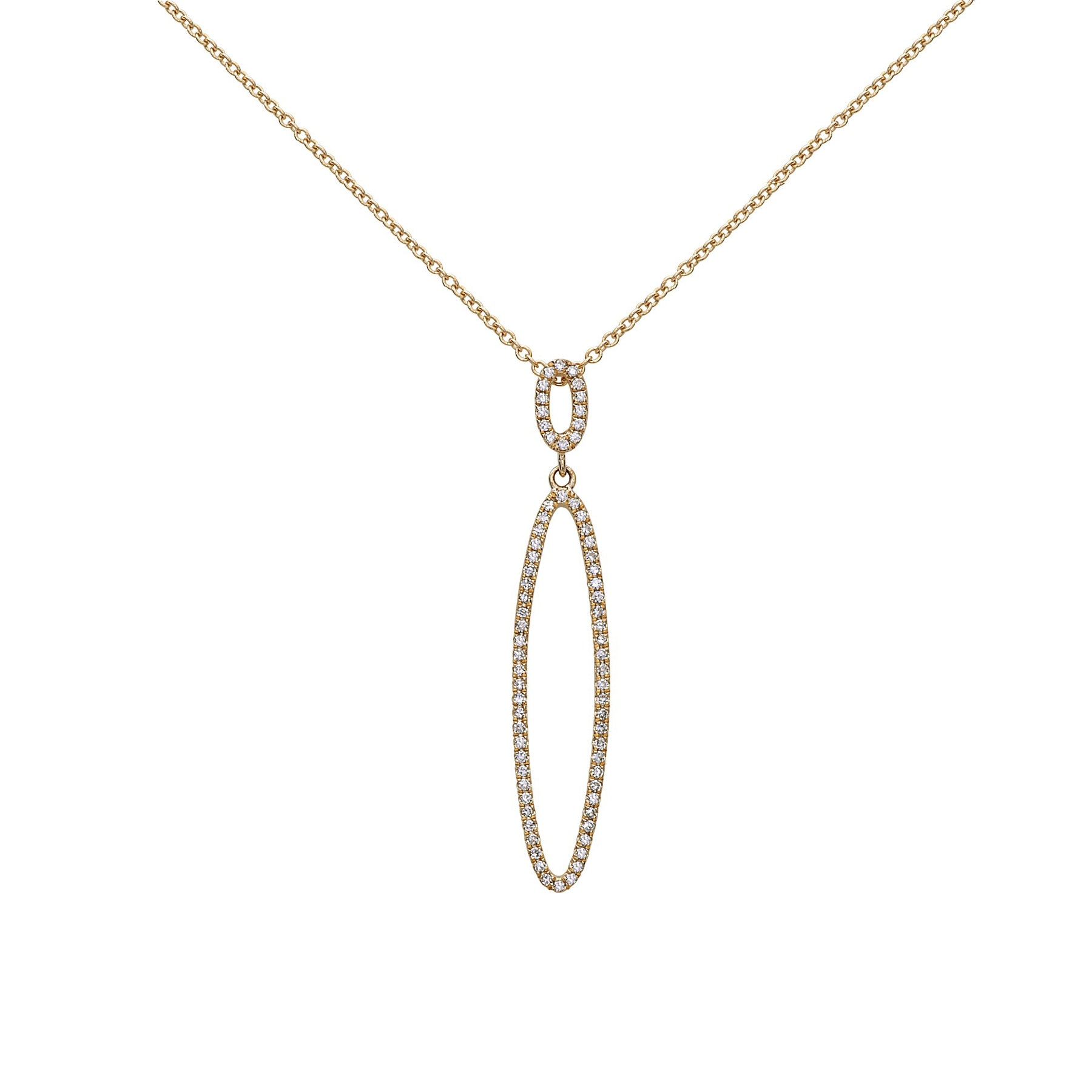 Open Oval Pavé Diamond Pendant, 14K Yellow Gold