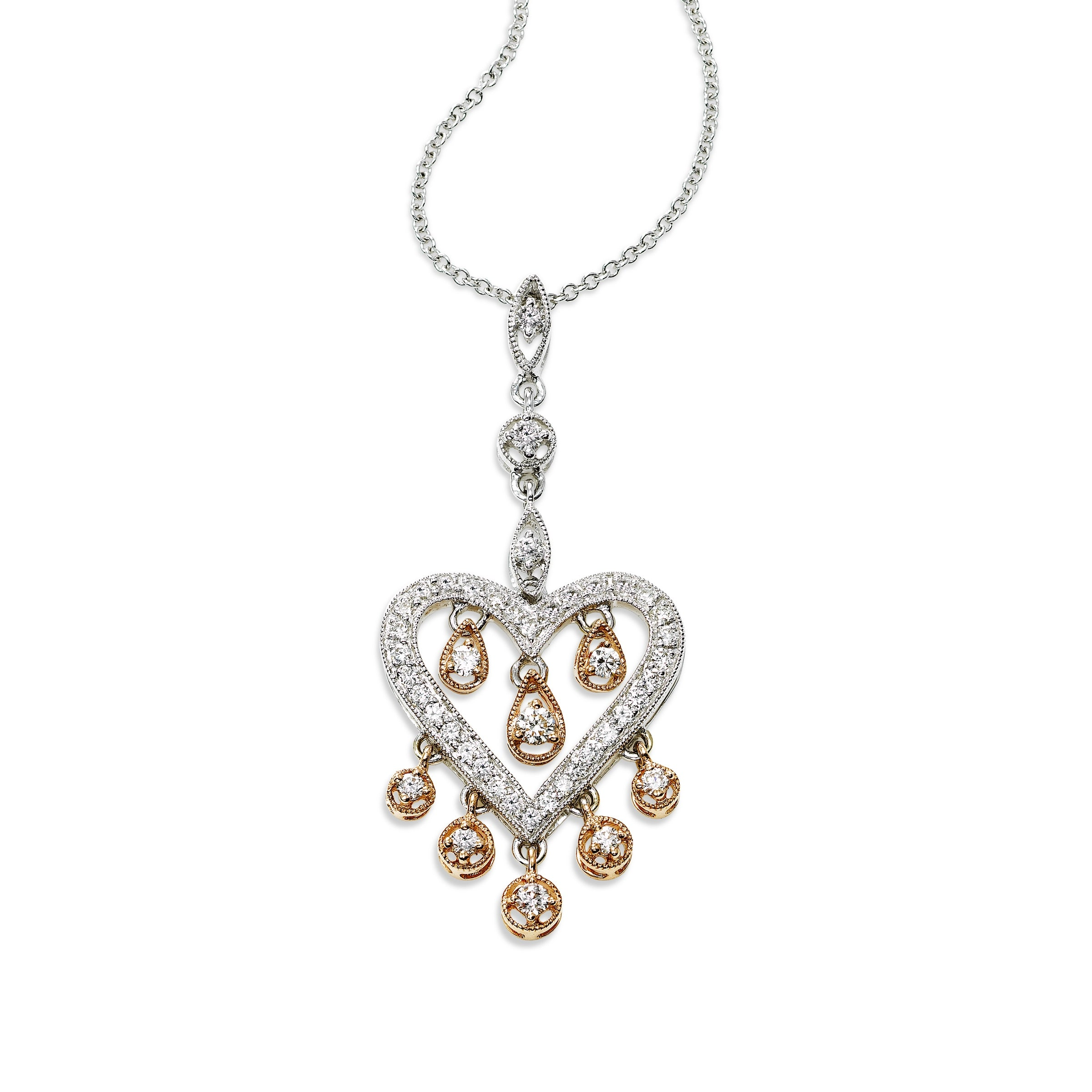 Two Tone Diamond Dangles Heart Pendant, 18 Karat Gold