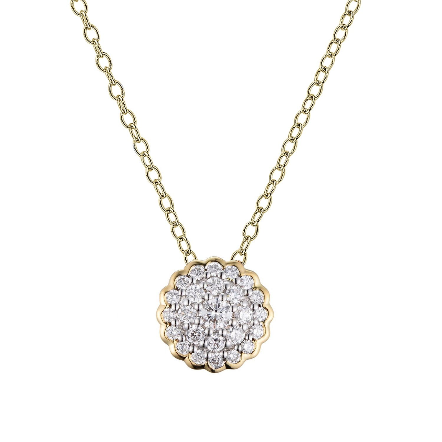 Two Tone Pavé Diamond Disc Necklace, 14 Karat Gold