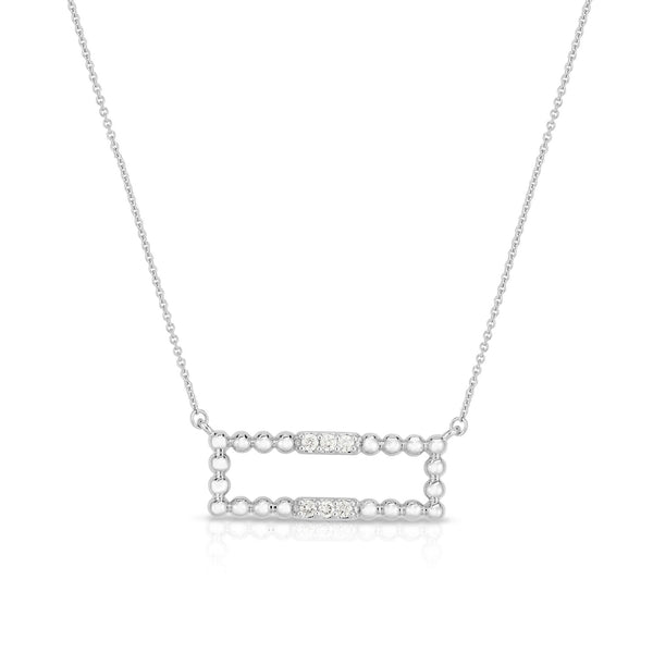 Bead and Diamond Bar Necklace, 14K White Gold