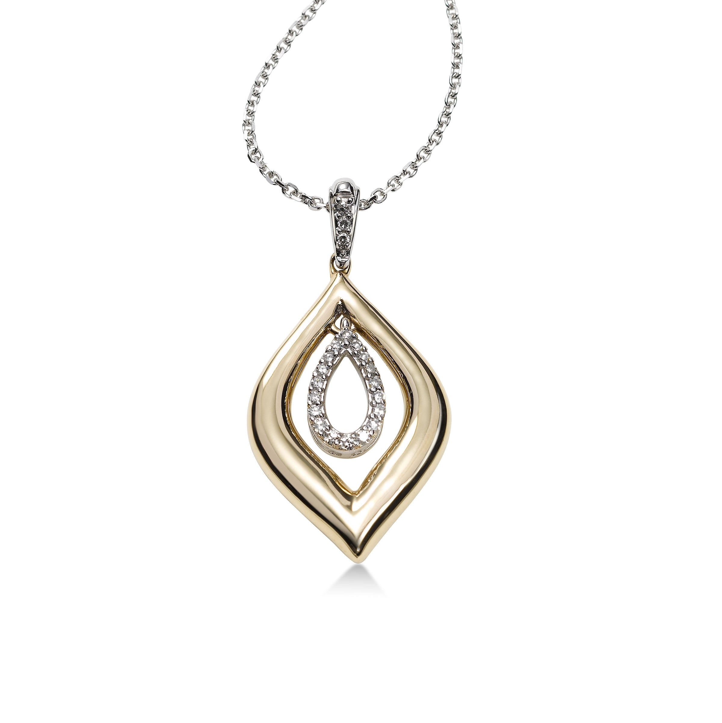 Two Tone Diamond Pendant, 14 Karat Gold