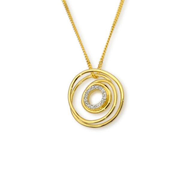 Coil Design Diamond Pendant, 14K Yellow Gold