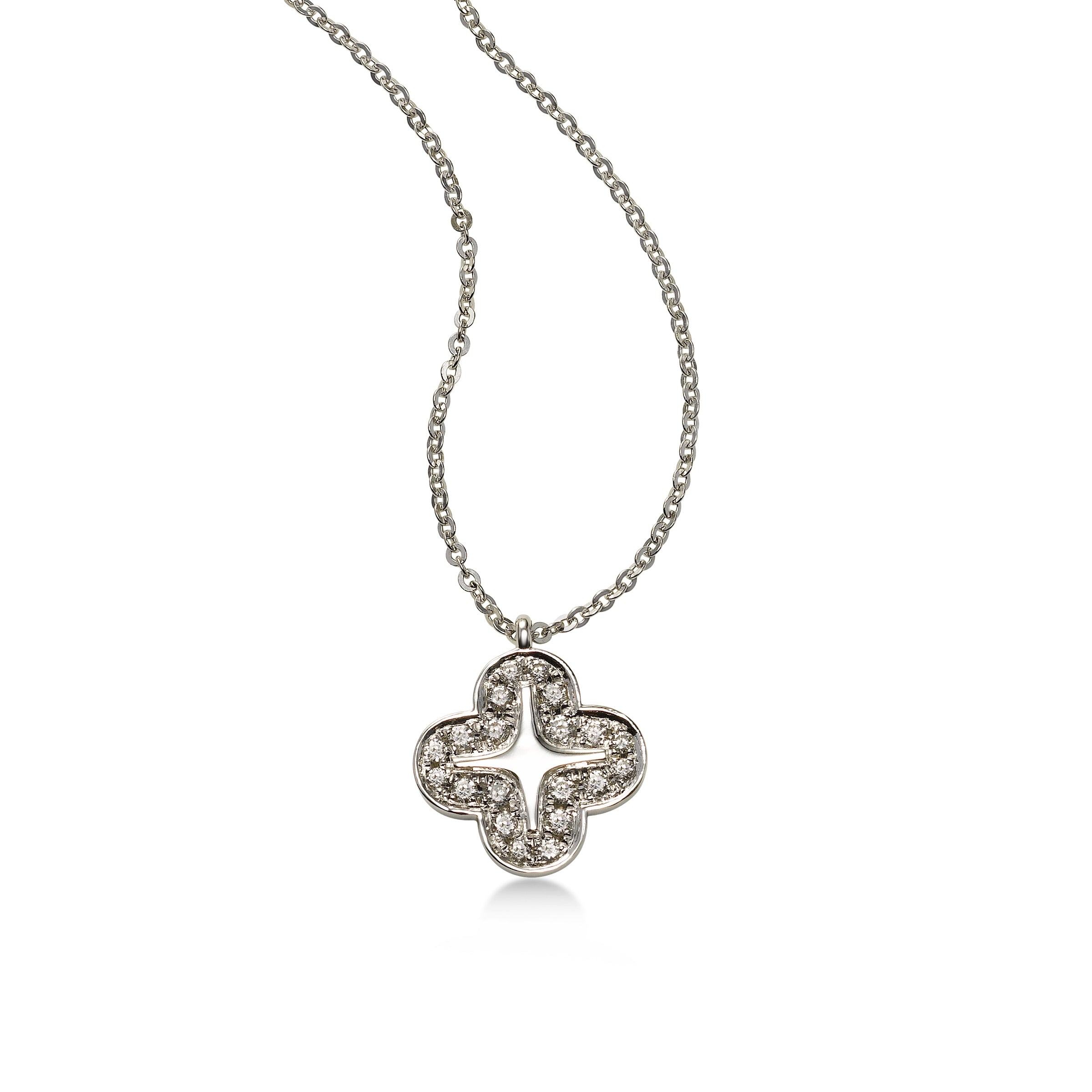 Alyssum Diamond Pendant, 14K White Gold