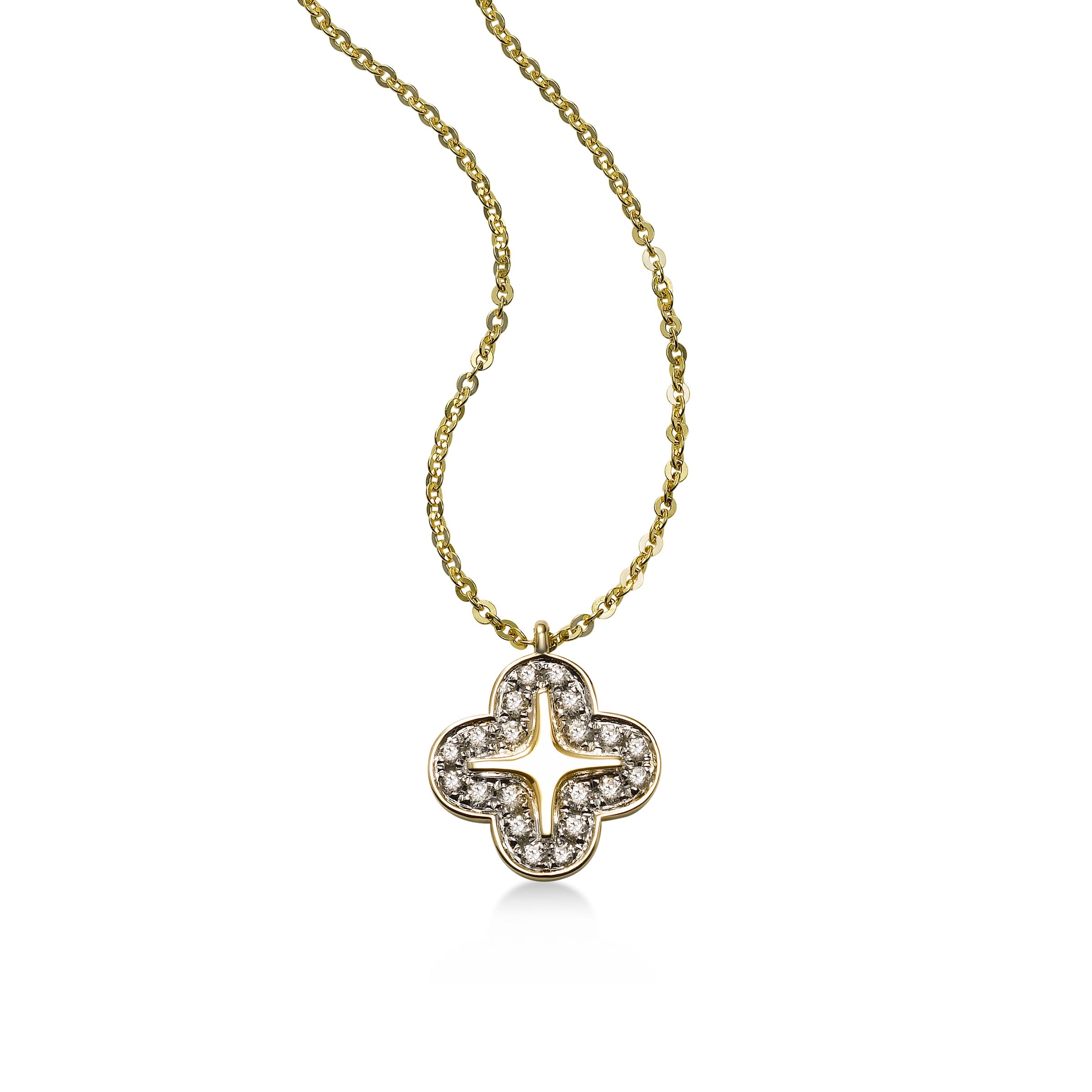 Alyssum Diamond Pendant, 14K Yellow Gold
