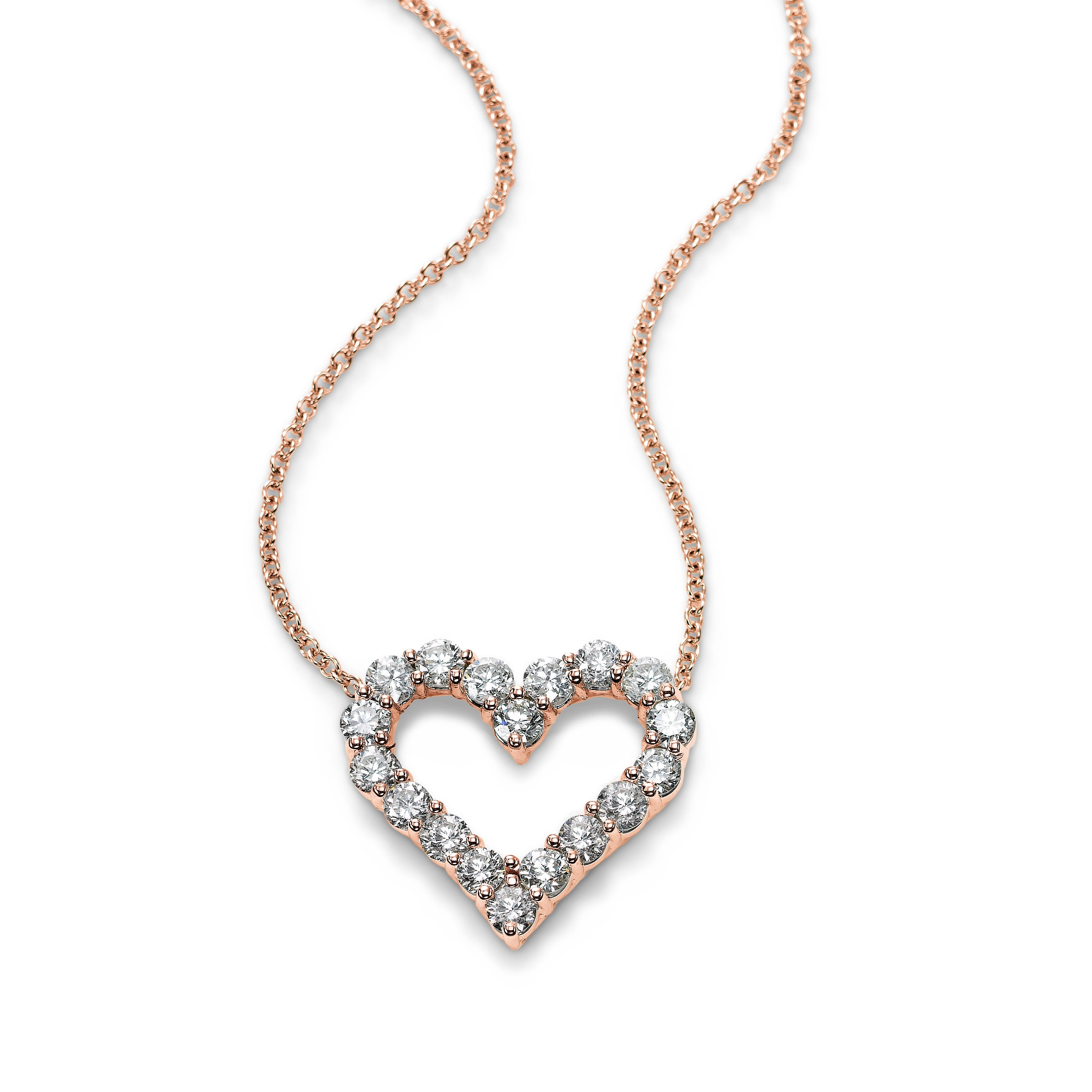 Open Heart 1 Carat Diamond Pendant, 14K Rose Gold