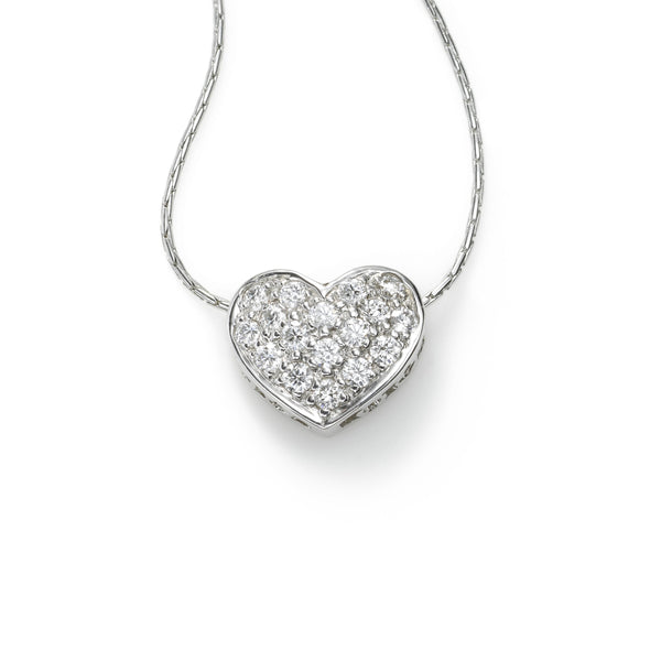 Pave Diamond Heart, .60 Carat, on Fancy Chain, 14K White Gold