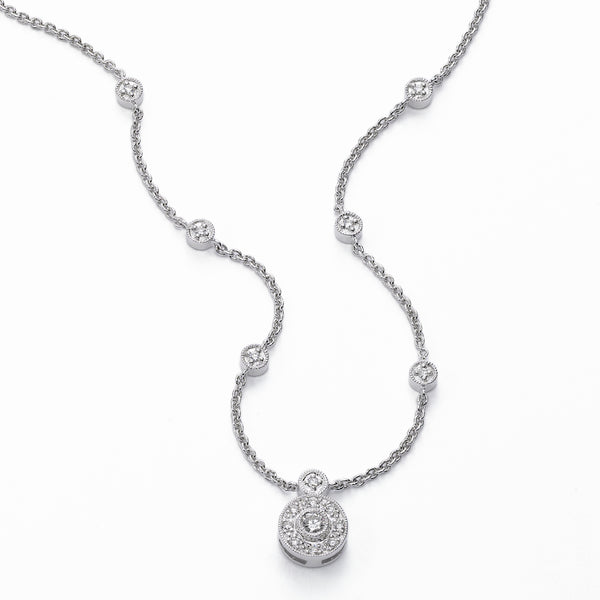 Pave and Bezel Set Diamond Necklace, 18 inch, 14K White Gold