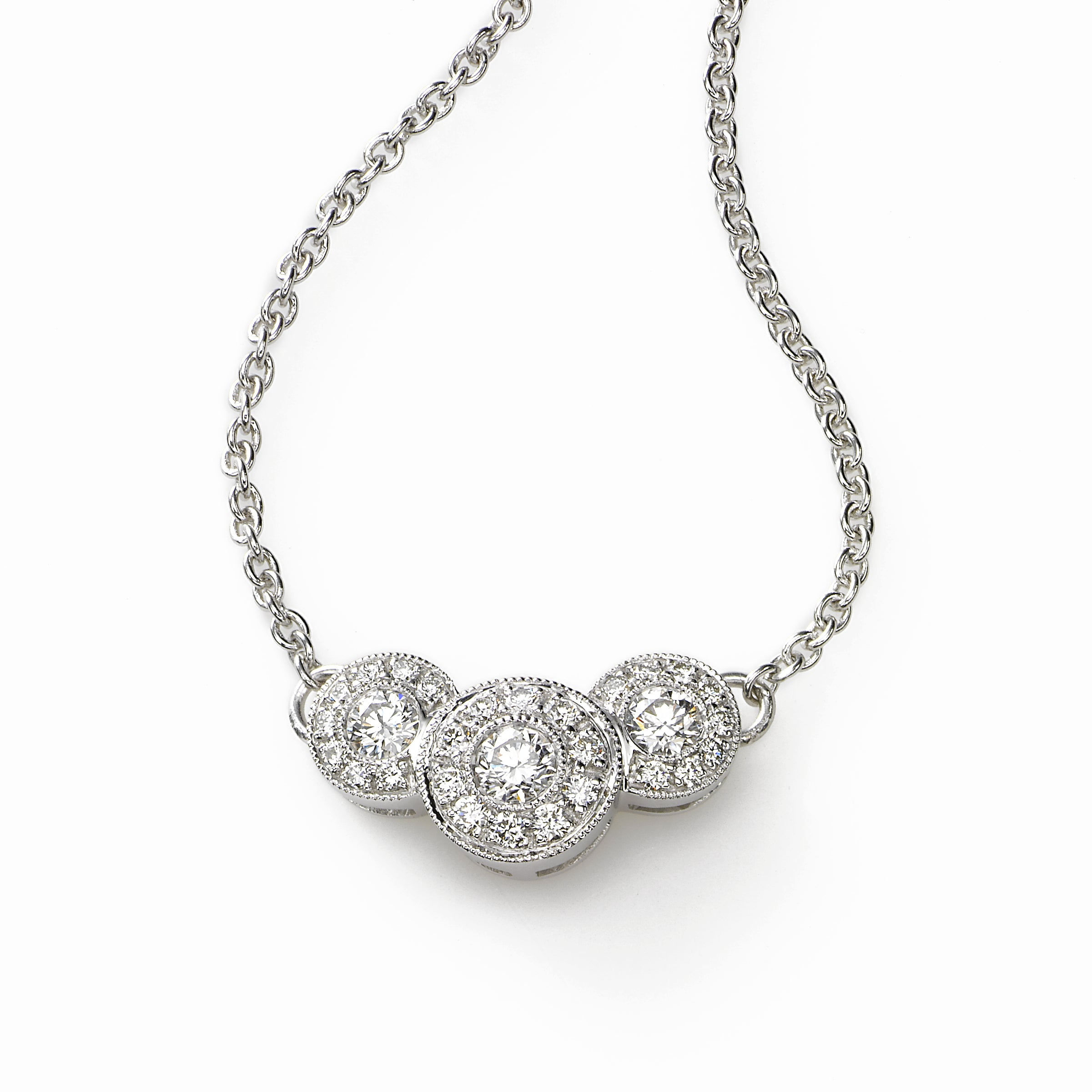 Triple Graduated Diamond Circle Necklace, 16 inch, 14K White Gold