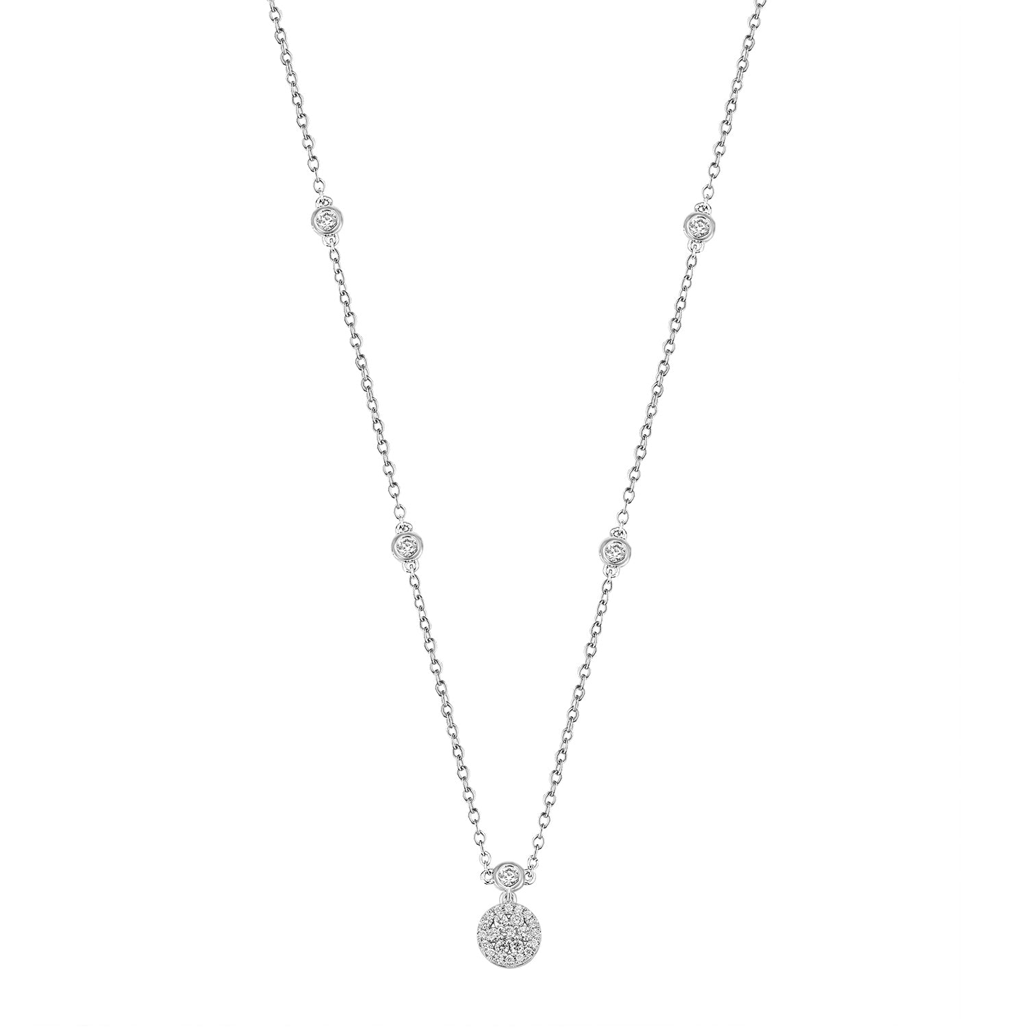 Diamond Cluster on Bezel-Set Diamond Chain, 14K White Gold