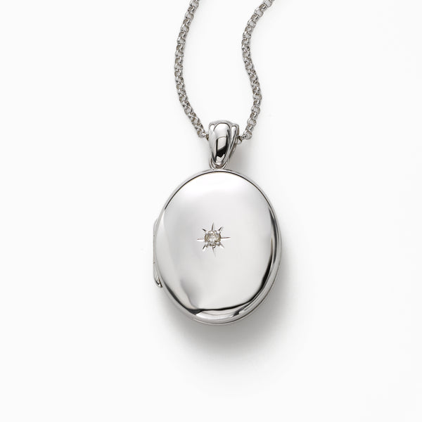 Oval Sterling Silver Locket with Diamond