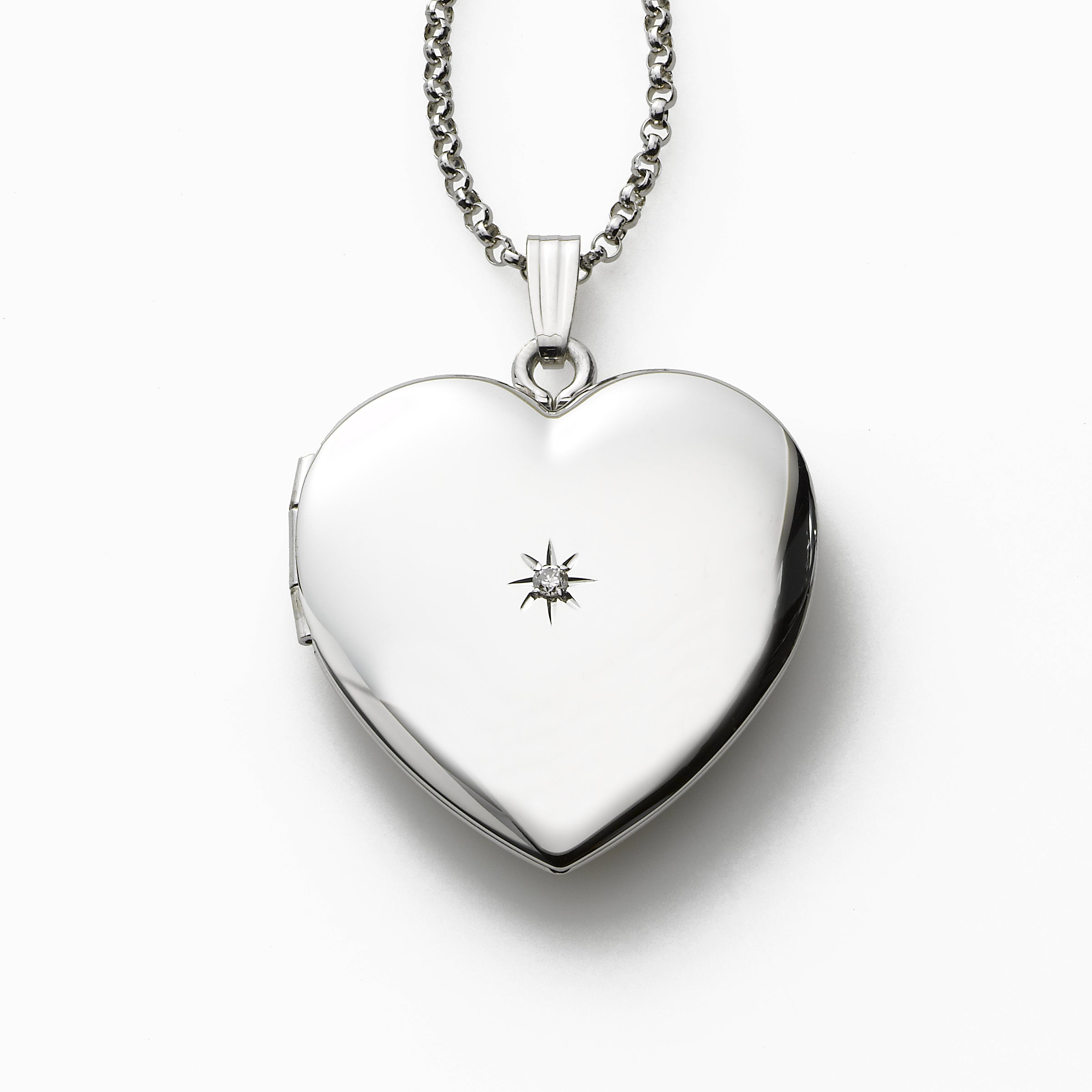 Heart Shaped Locket Necklace with Diamond Accent, Sterling Silver, 20 Inches