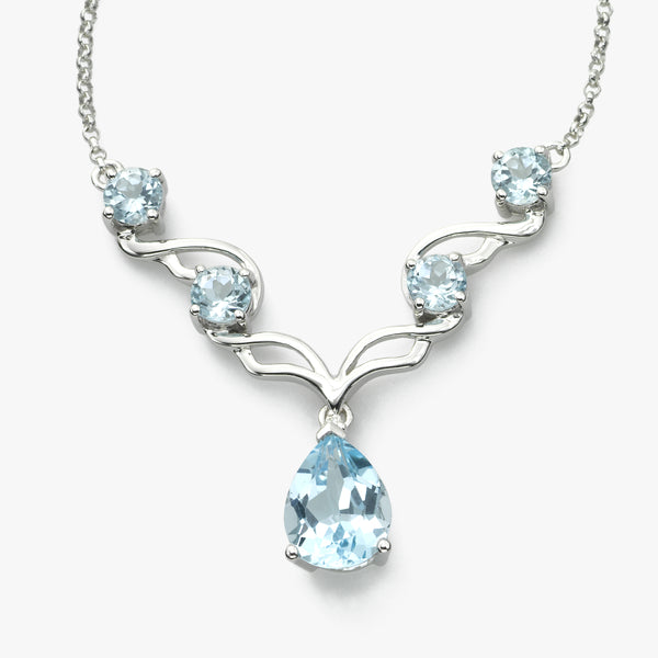 Blue Topaz and Diamond Necklace, 14K White Gold