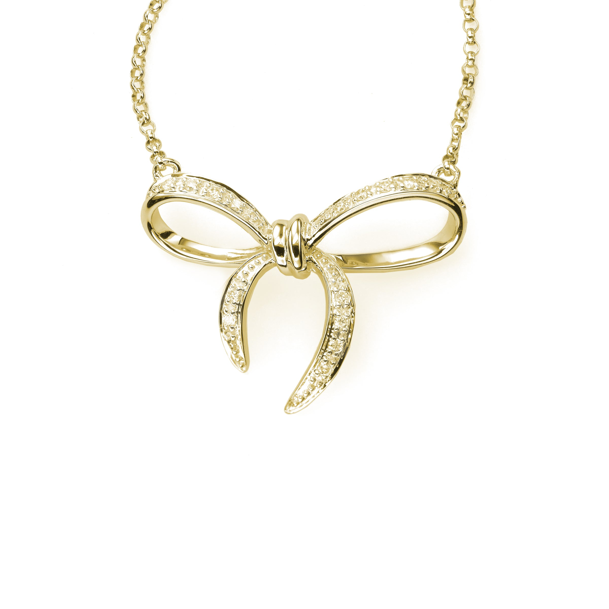 Diamond Bow Necklace, 16 Inch, 14K Yellow Gold