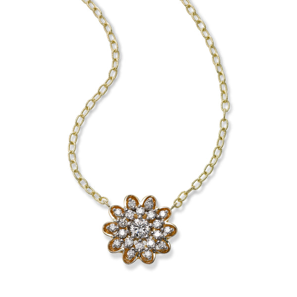 Diamond Flower Necklace, 14K Yellow Gold