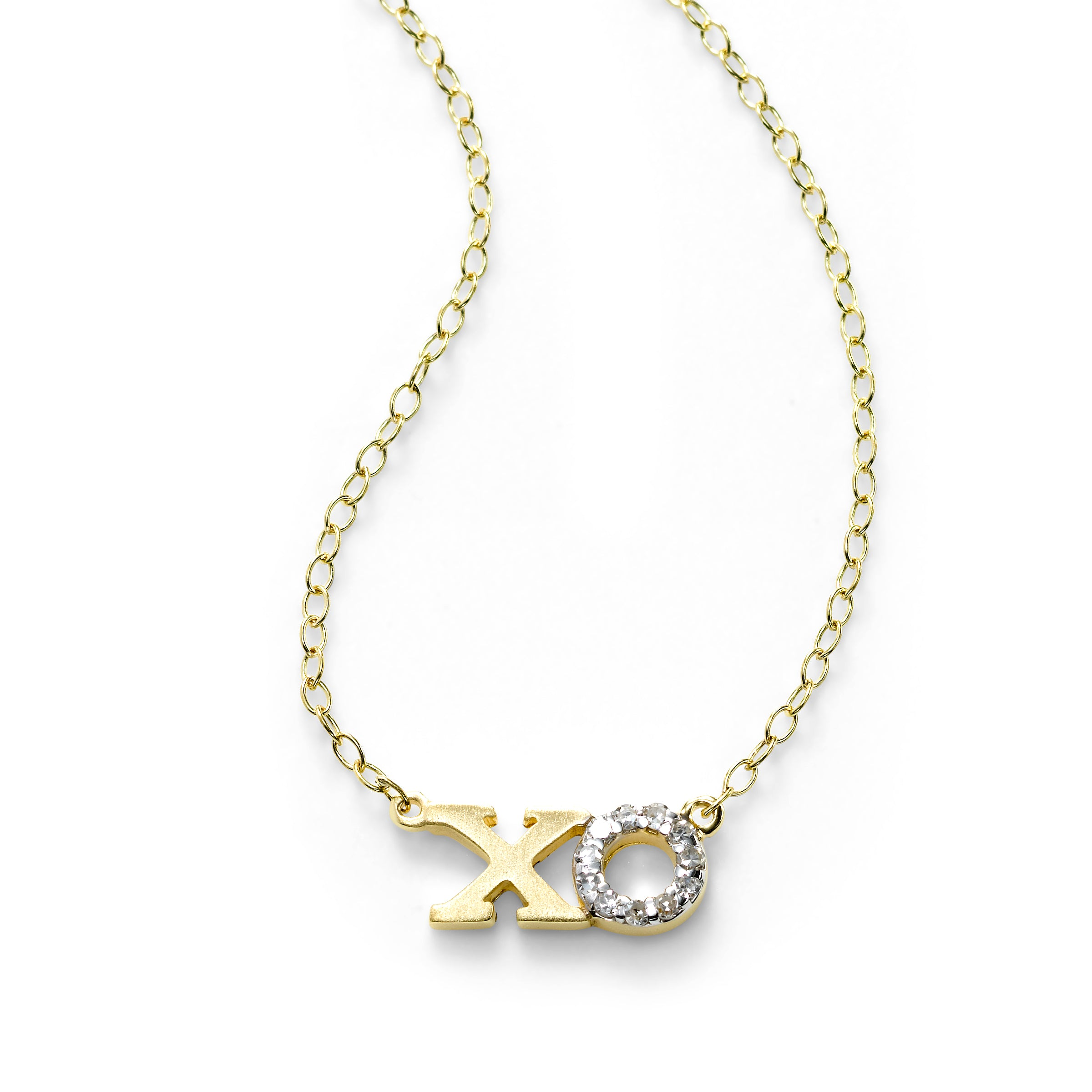 XO Necklace with Diamonds, 14K Yellow Gold