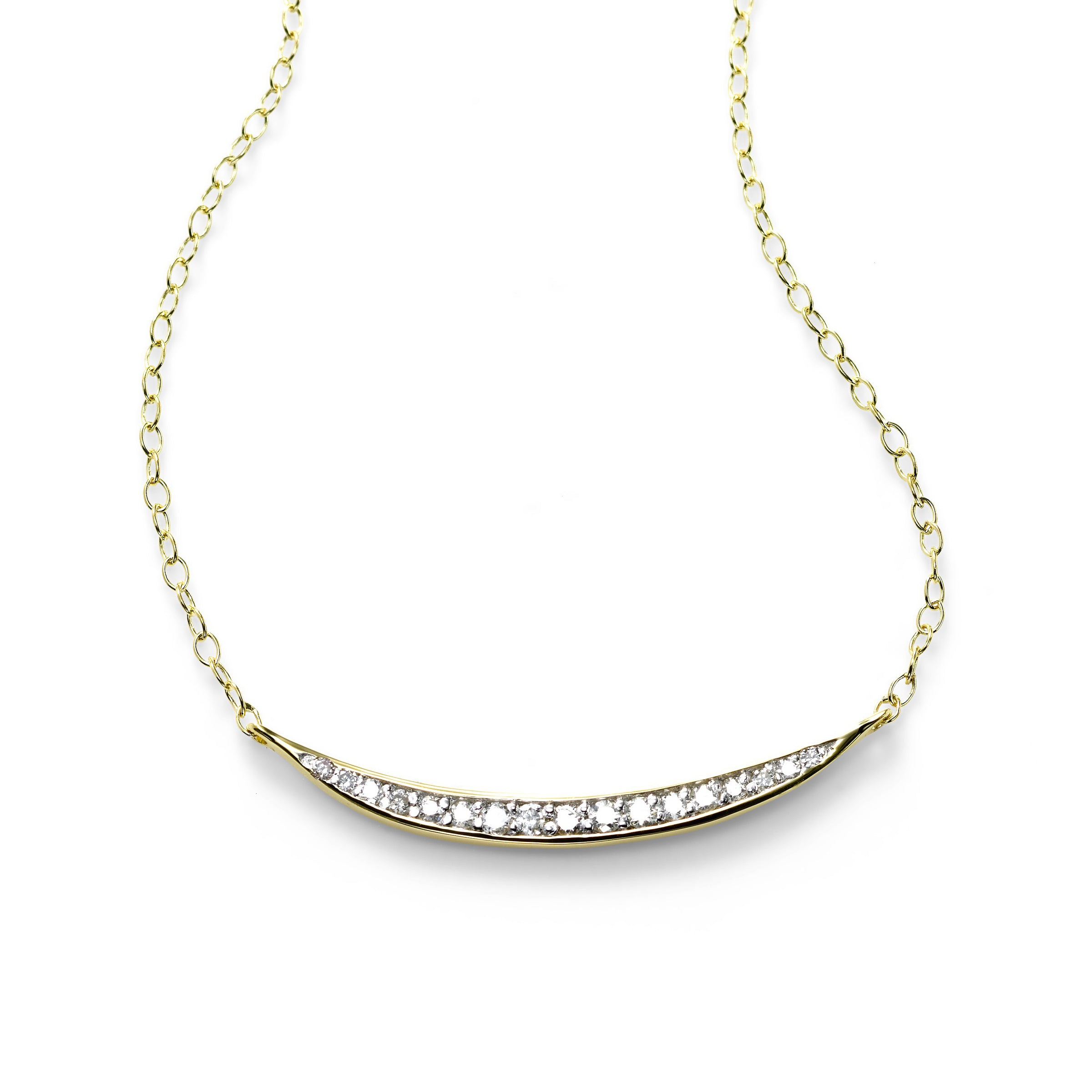 Curved Diamond Plaque Necklace, 14K Yellow Gold