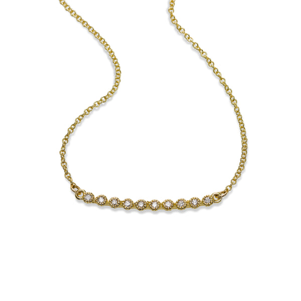 Bezel Set Diamond Bar Necklace, 14K Yellow Gold