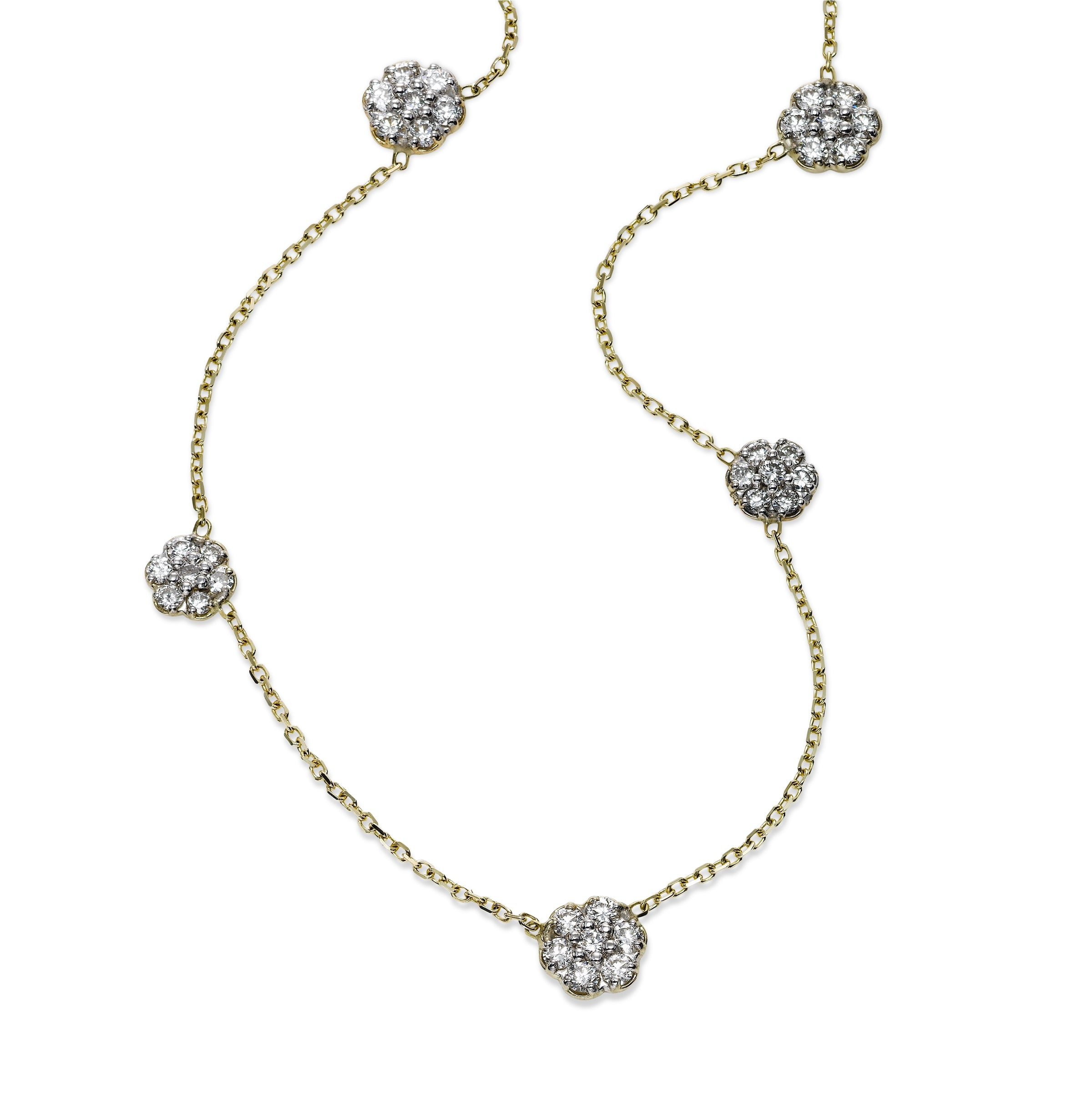 Flower Cluster Diamond Station Necklace, 14K Yellow Gold