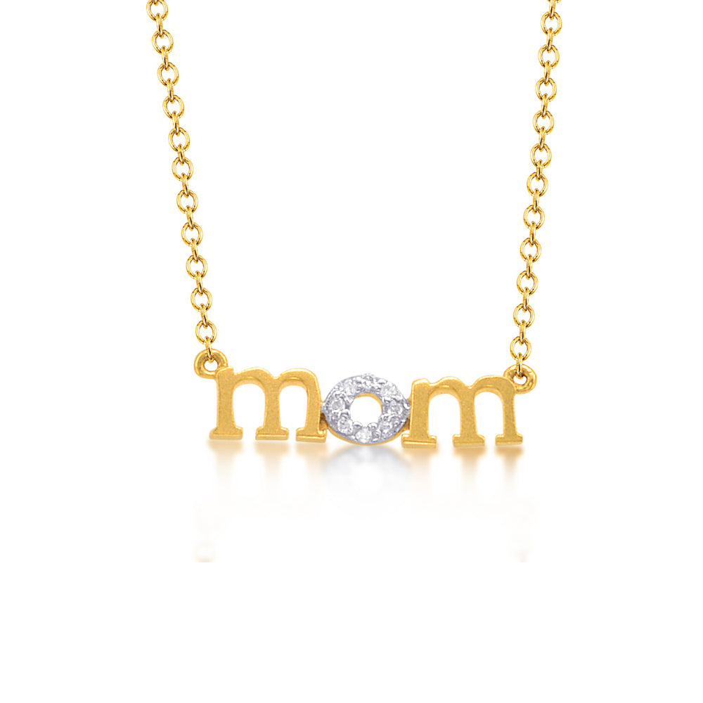 MOM Necklace with Diamonds, 14K Yellow Gold