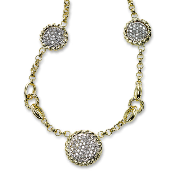 Diamond Pave Circle Necklace, 14K Yellow Gold