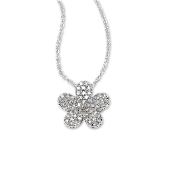 Pave Diamond Flower Pendant, 14K White Gold