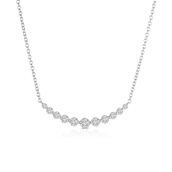 Diamond Arc Necklace, 14K White Gold