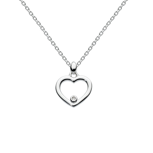 Open Heart Pendant with Diamond Accent, Sterling Silver