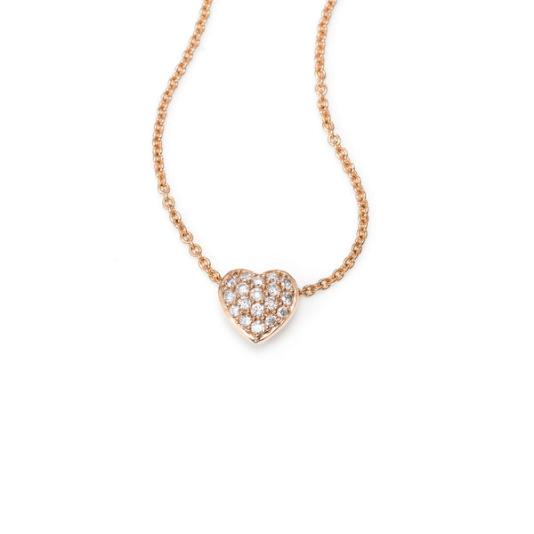 Small Pavé Diamond Heart Necklace, 14K Rose Gold