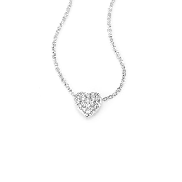 Small Pavé Diamond Heart Necklace, 14K White Gold