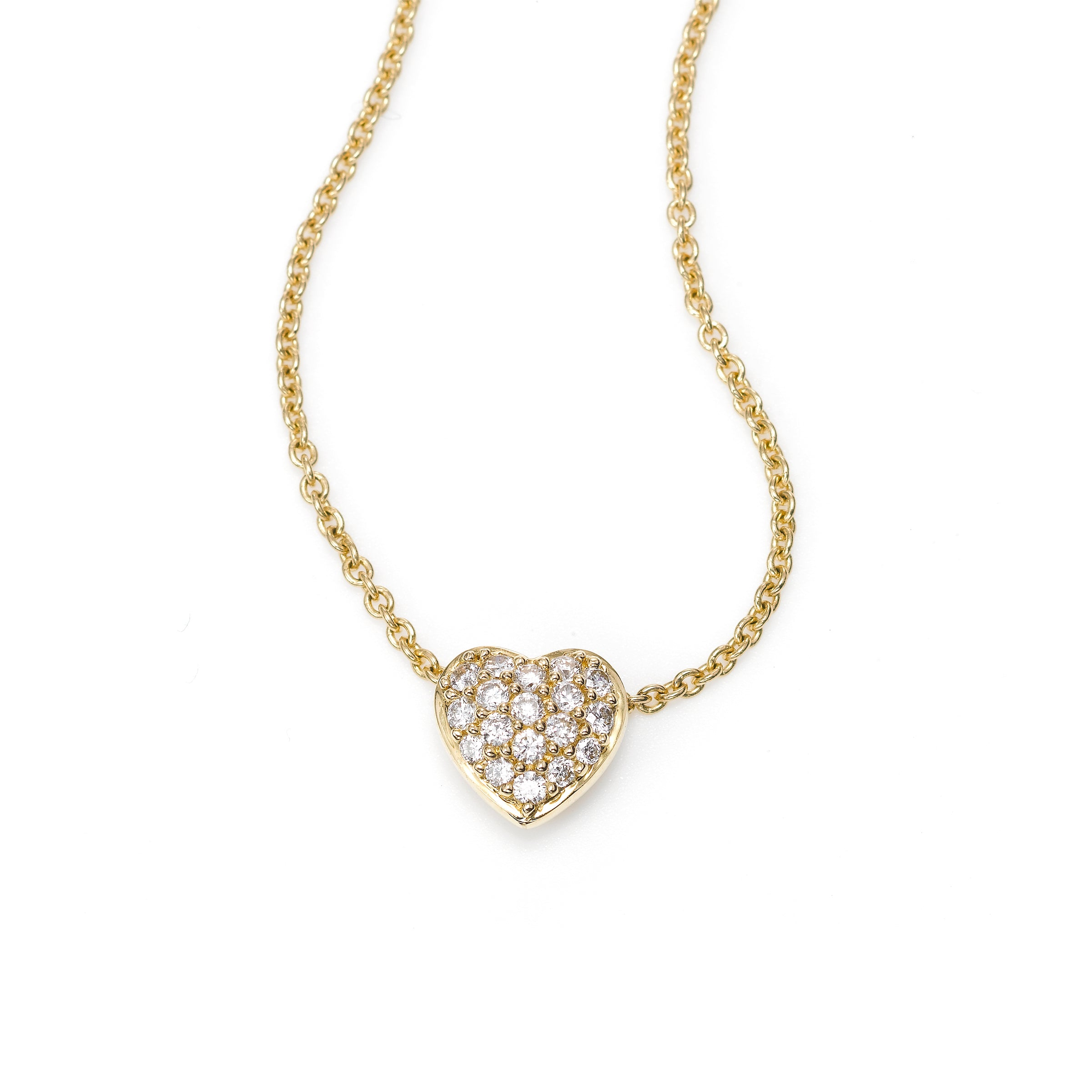 Small Pavé Diamond Heart Necklace, 14K Yellow Gold