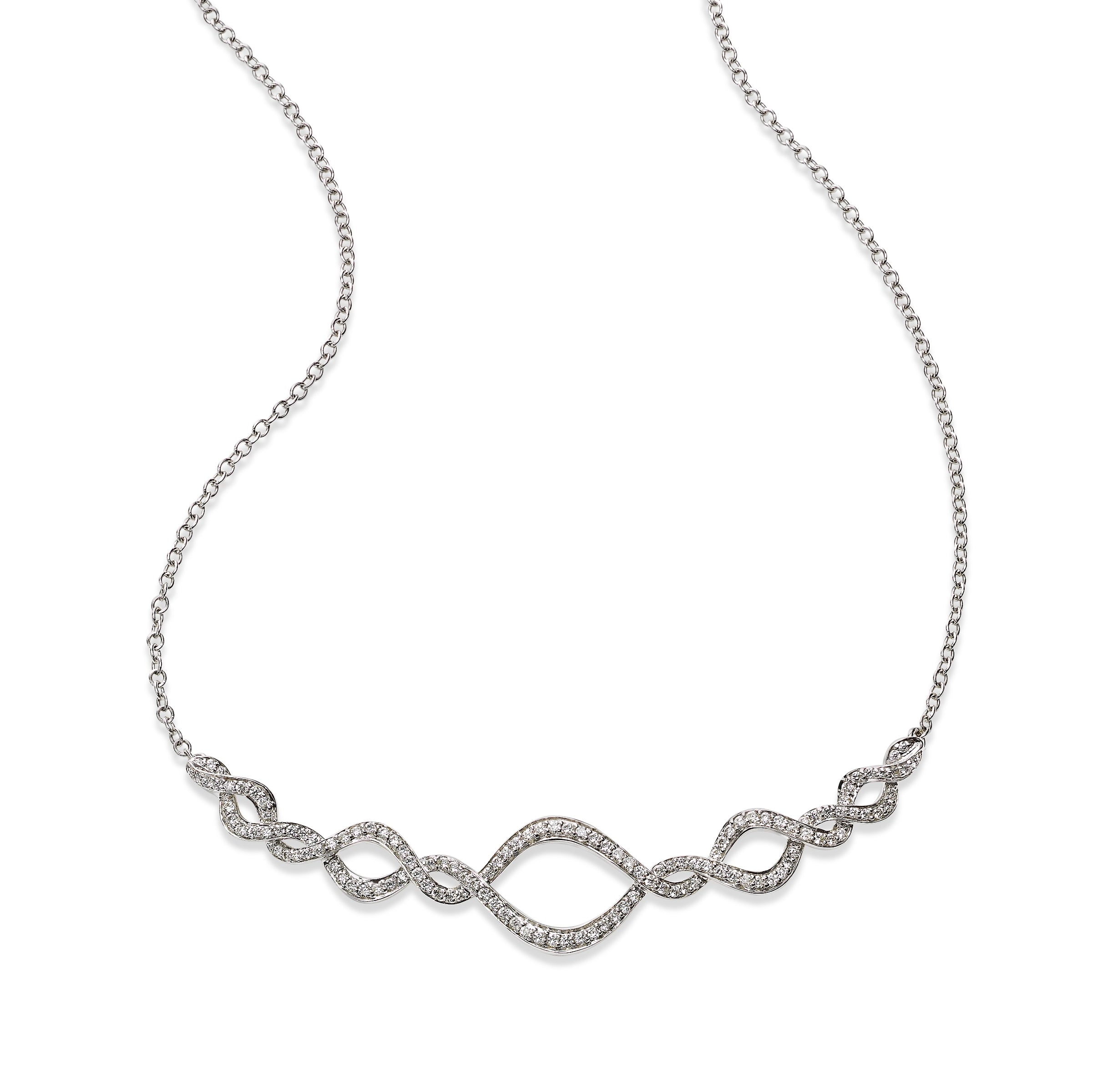 Diamond Intertwined Necklace, 14K White Gold