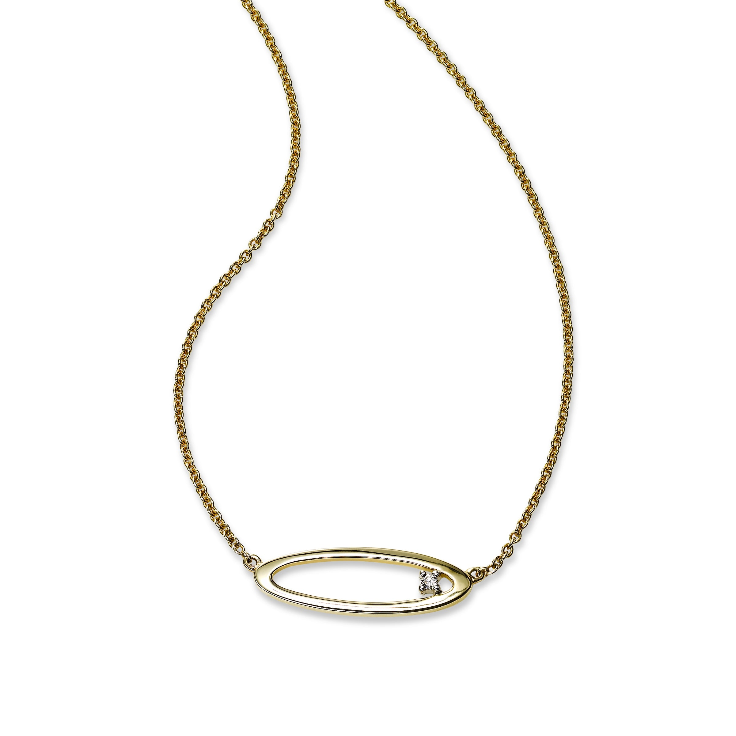 Open Oval Necklace with Diamond Accent, 14K Yellow Gold