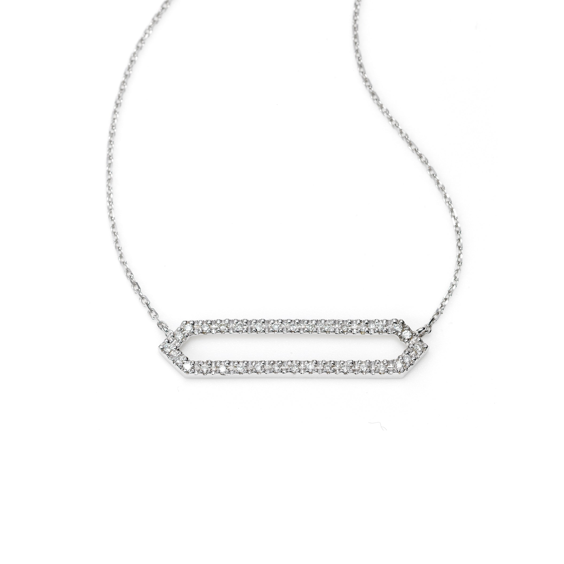 Double Diamond Bar Necklace, 14K White Gold