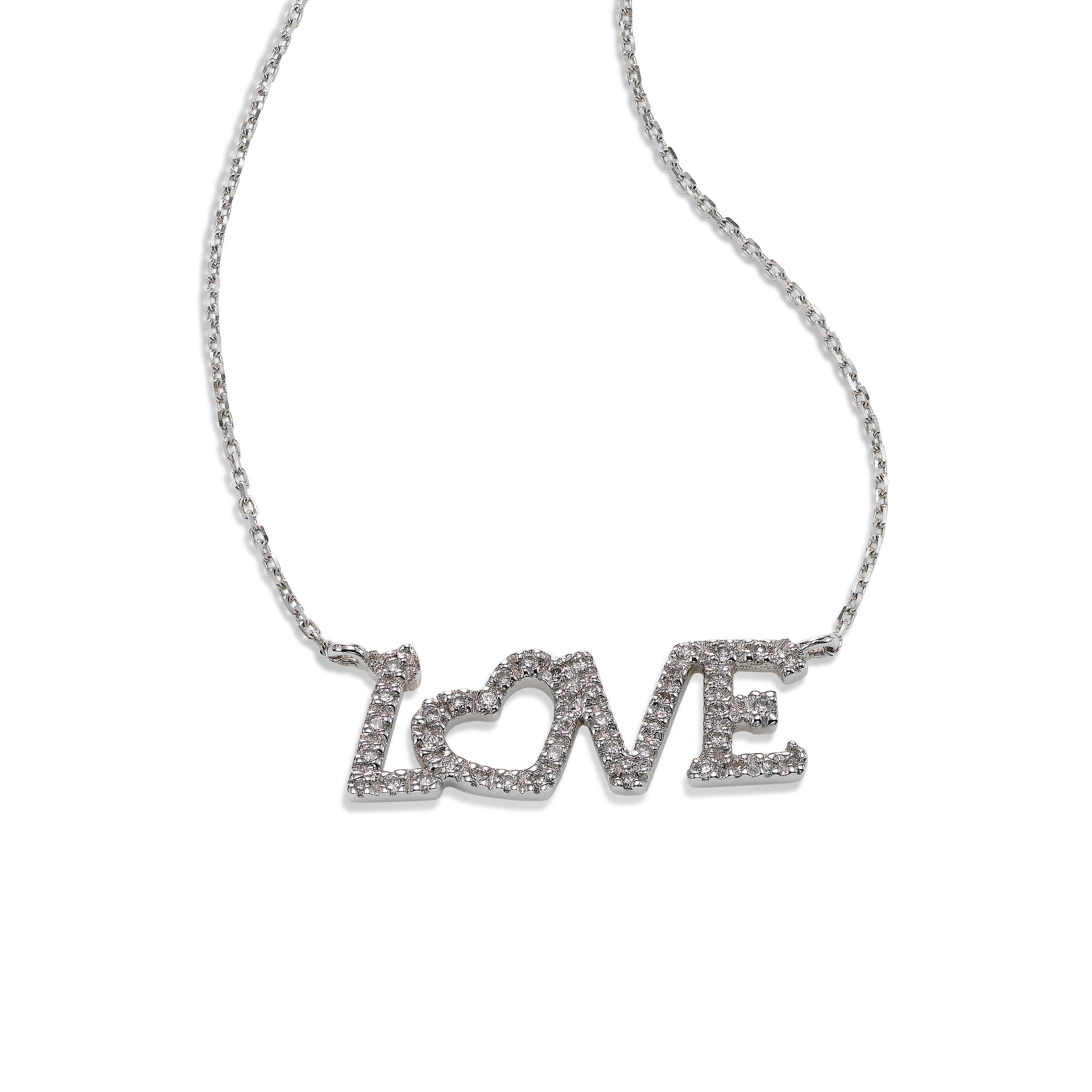 Diamond LOVE Necklace, 14K White Gold