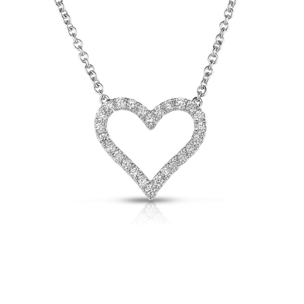 Open Heart Diamond Necklace, .50 Carat, 14K White Gold