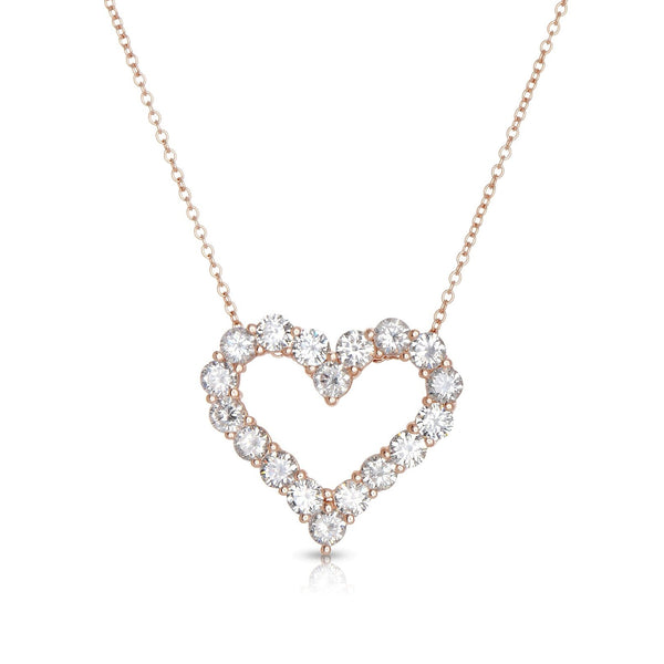 Open Heart Diamond Necklace, .25 Carat, 14K Rose Gold