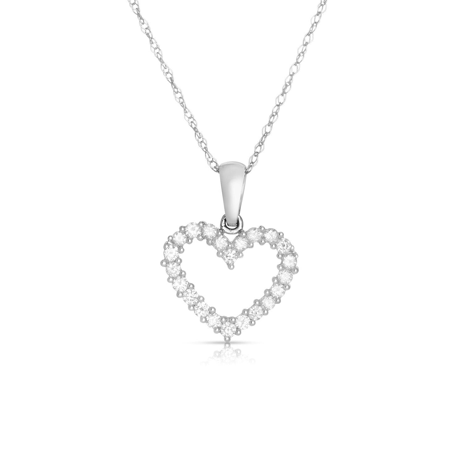 Small Shared Prong Diamond Pendant, 14K White Gold