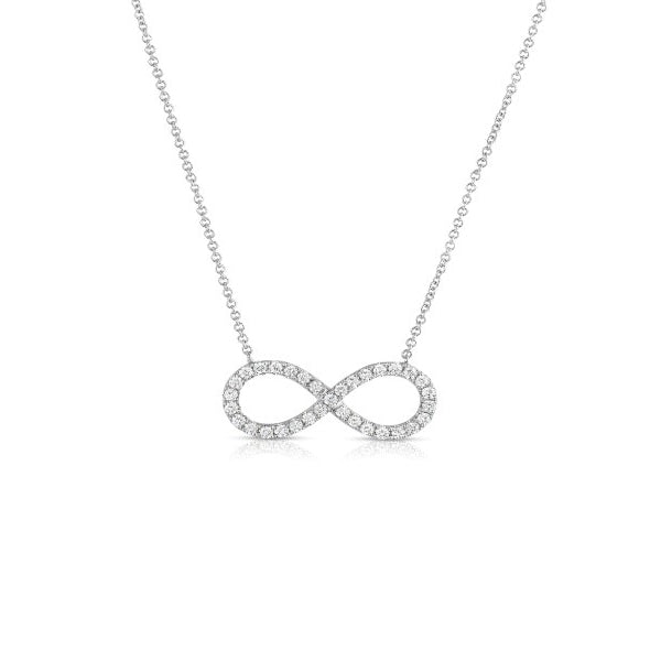 Pavé Diamond Infinity Symbol Necklace, 14K White Gold