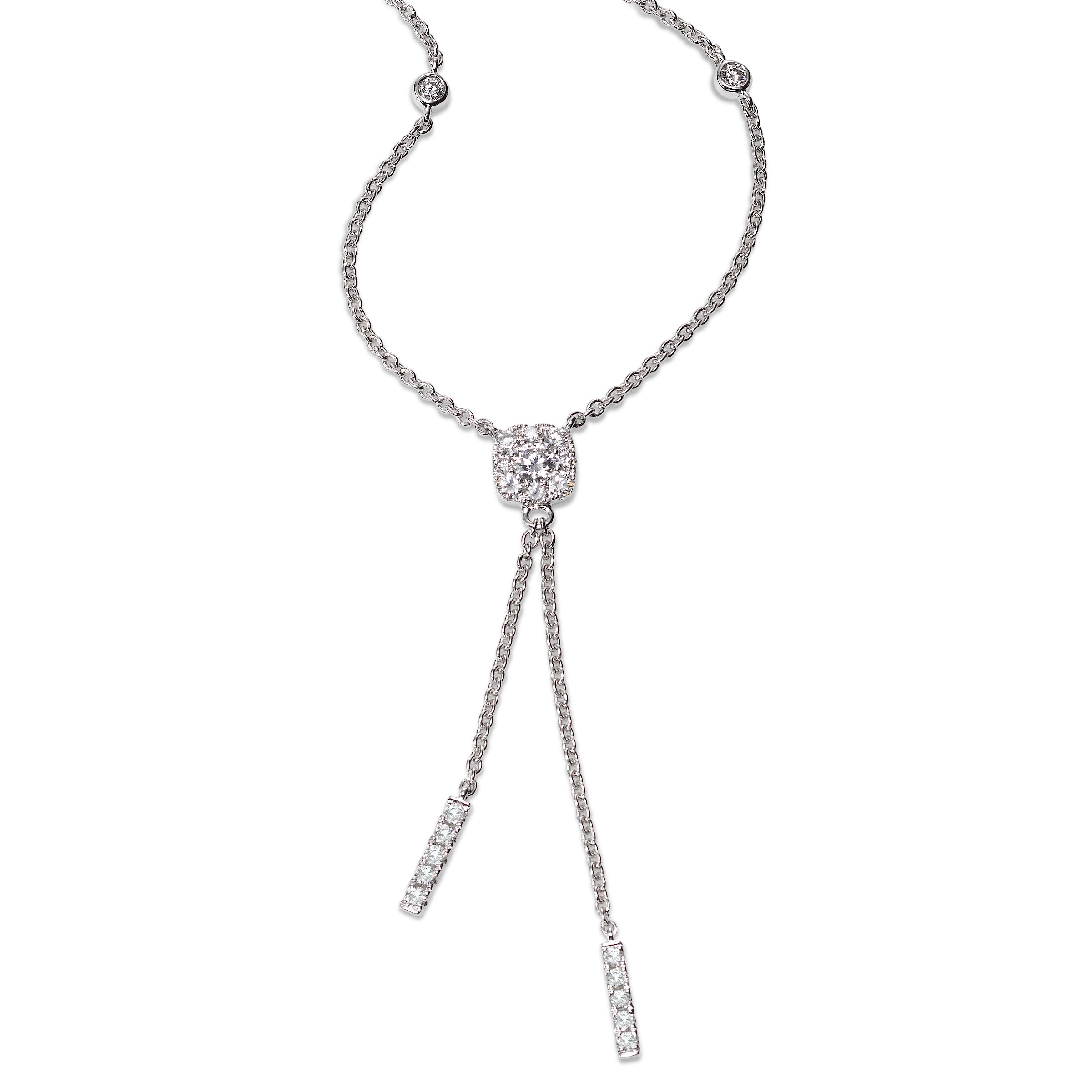 Diamond Lariat Necklace, 18K White Gold