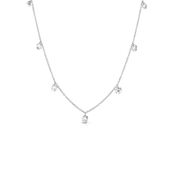 Seven Floating Diamonds Necklace, 14K White Gold