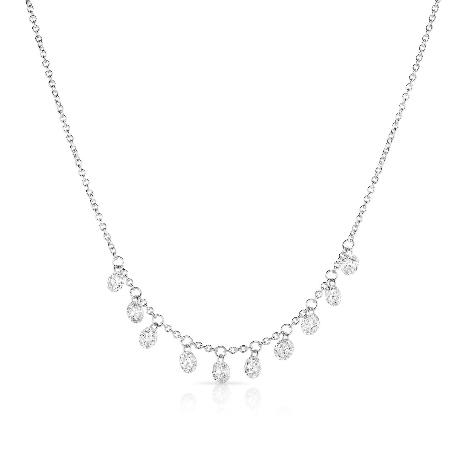 Ten Floating Diamonds Necklace, 1.50 Carats, 14K White Gold